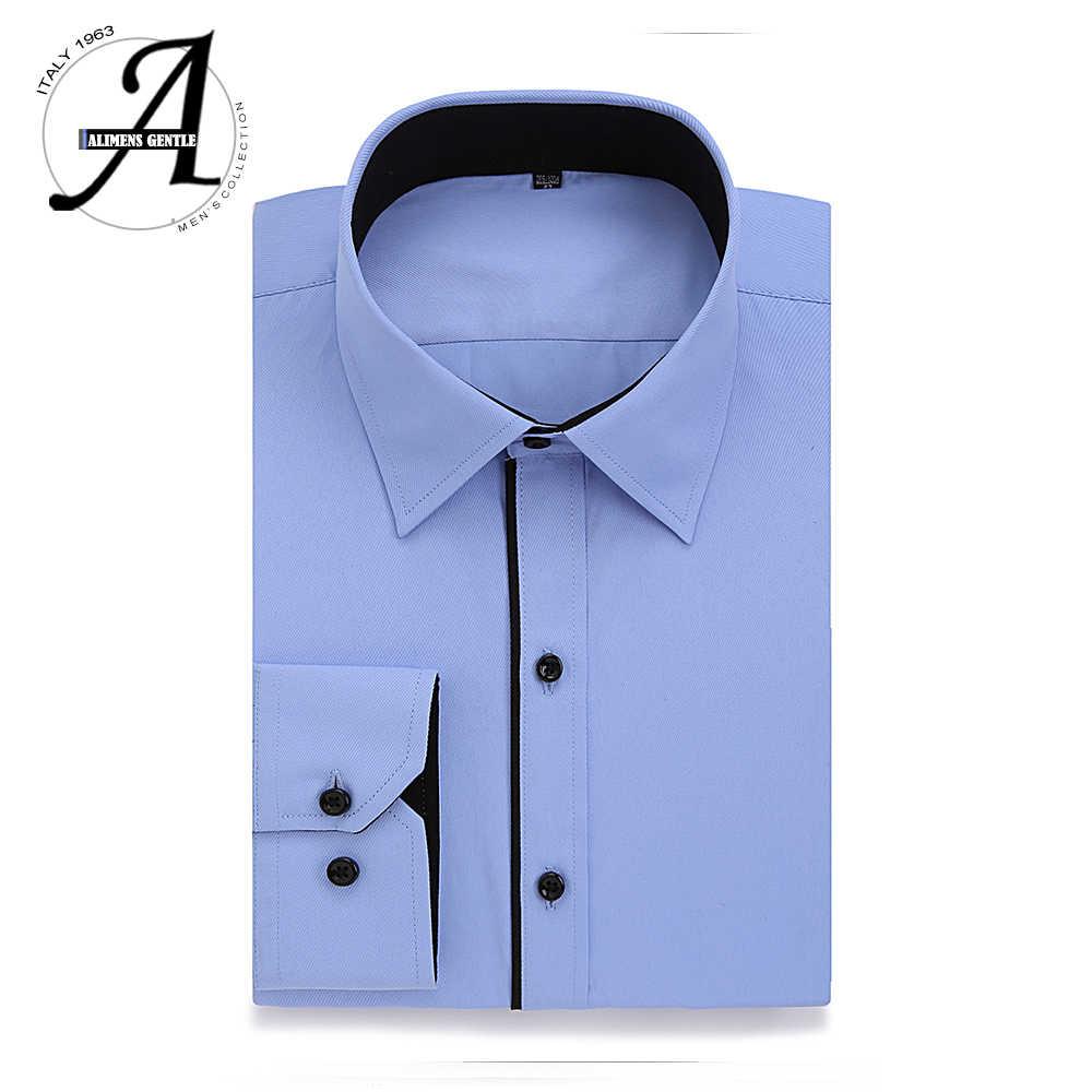 Alimens & Gentle Плюс Размер Повседневное платье рубашка мужская с длинным рукавом высокая хлопковая мода новая camisa masculina chemise homme