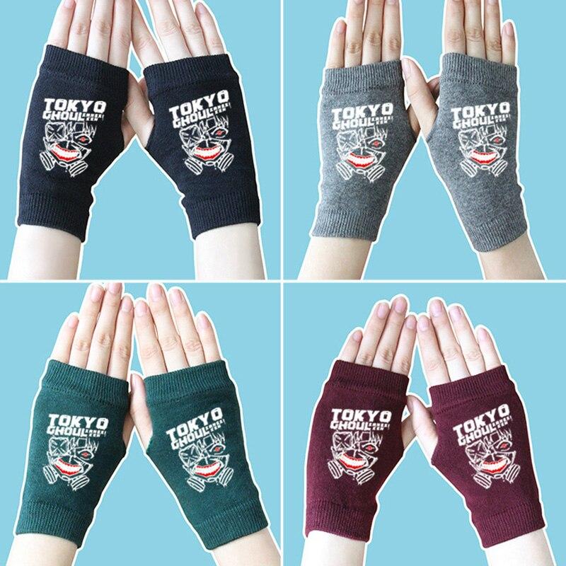 Anime Fingerless Gloves Tokyo Ghoul Hatsune Miku EVA Cotton Knitted Wrist Gloves hand Mittens women Cartoon Accessories Cosplay