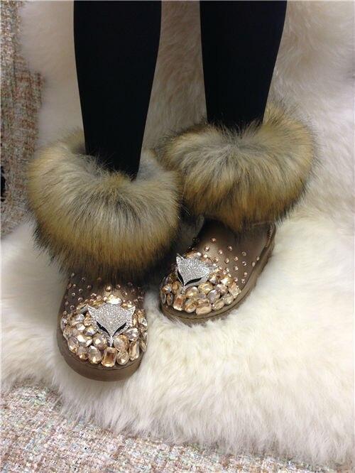 ФОТО European stations new winter snow boots diamond imitation fox fur  warm cotton-padded heavy-bottomed female cotton-padded shoes