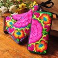 Vintage Nepal India Embroidery Clutch Canvas Embroidered Bag Mobile Phone Coin Purse Women Long Wallet Day Clutch Handbag