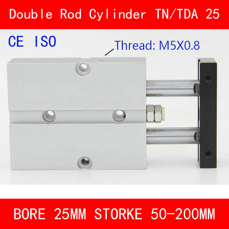 CE ISO TN25 TDA Twin Spindle Air Cylinder Bore 25mm Stroke 50-200mm Dual Action Air Pneumatic Cylinders Double Action Pneumatic tn25 tda twin spindle air cylinder bore 25mm stroke 10 45mm dual action air pneumatic cylinders double action pneumatic parts