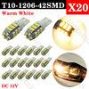 20pcs 6000K Super Bright Xenon Warm White T10 LED Lights Bulbs 3020 SMD 42LED Car Light