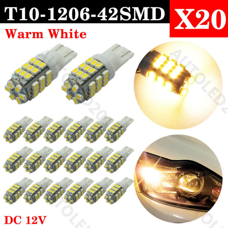 20pcs 6000K Super Bright Xenon Warm White T10 LED Lights Bulbs 3020 SMD 42LED Car light bulb Xenon Warm White Reverse Tail Light
