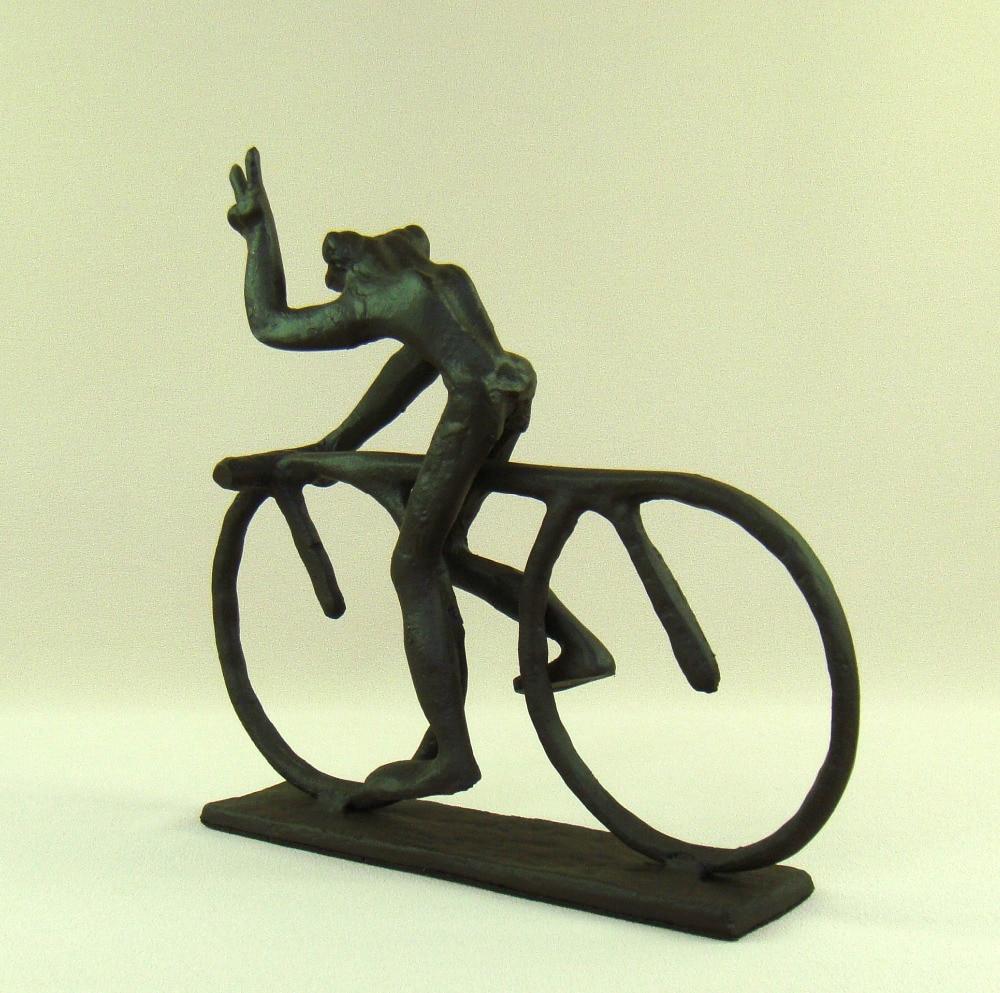 Abstract Cast Iron Bike Riding Frog Statue Handmade Metal Cyclist ...