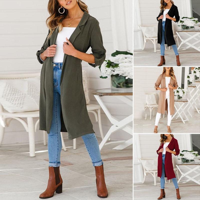 2018 Autumn Winter Coat Women Wide Lapel Belt Pocket Oversize Long Red   Trench   Coat Outwear Soft Casual Pull Loose Outerwear