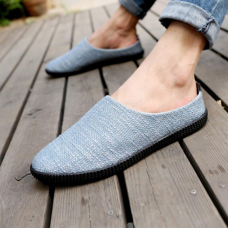 Casual La Los Zapatos Pedal Conducción Negro Lino gris gris azul De Tendencia 2017 Mitad Cielo marrón Perezoso Hombres Oscuro Nuevo Grandes Tamaño z7Inx