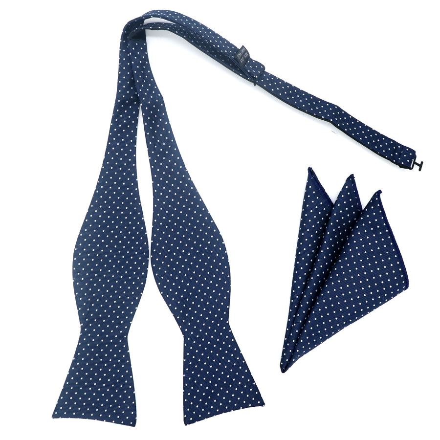 GHL15 New Design Self Bow Tie Hanky Set Blue W/ White Polka Dot Silk Jacquard Woven Men Bowtie Pocket Square Suit Wedding Party