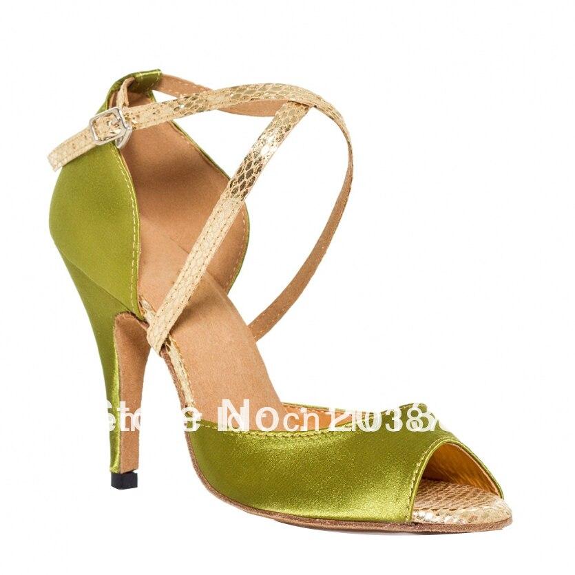 Women Green Satin Dance Shoes Latin Ballroom Shoes Salsa Dance Shoes Flamenco Dance Sandals