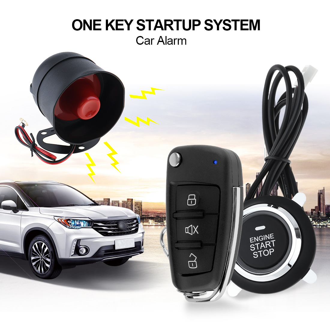 Universal Car Alarm Security System Remote Start Stop Button Engine System Vehicle Keyless Entry Door Lock