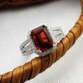Классический обручальное кольцо подлинная красный гранат серебряные кольца горячие ювелирные изделия мода продавать элегантный кольцо для женщин реальные 925 серебряное кольцо