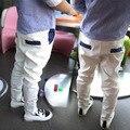 Varejo! Outono nova ondulação calças de terno branco das crianças/menino calça casual