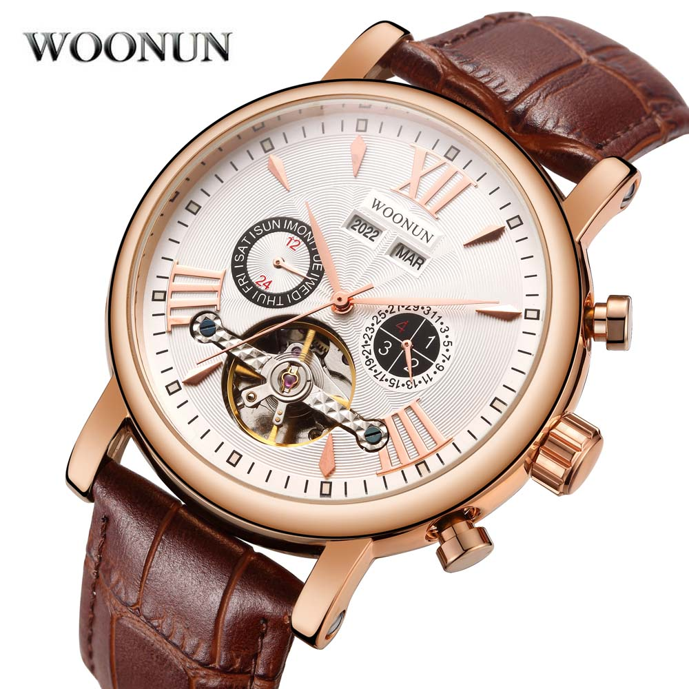 2018 New Tourbillon Watch Mens Multifunction Mechanical Watches Top Brand Luxury Rose Gold Plated Automatic Watch For Men new fashion luxury brand forsining rose gold men watch automatic mechanical watches hollow men tourbillon mechanical watch gift