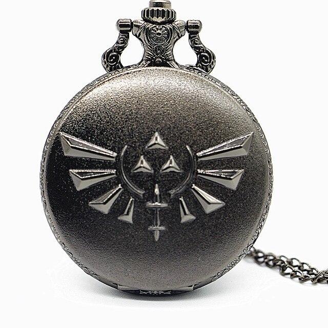 Antique All Black Colorful Dial Quartz Pocket Watch Pendant Necklace Mens Analog