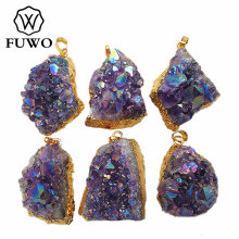 FUWO Natural Aura Angel Amethysts Pendant 24K Gold Electroplate Free Shape Purple Crystal Quartz Boho Jewelry Wholesale PD041