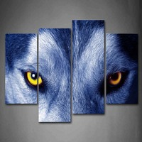 Framed Wall Art Pictures Wolf Face Yellow Eye Canvas Print Animal Posters With Wooden Frames For Home Living Room Decor