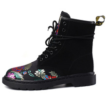 2017 new leather boots  Martin British style flat embroidery winter