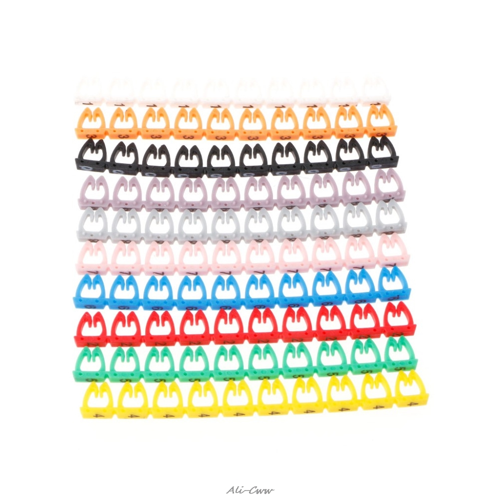 100Pcs/Set New Multi-color Numeric Cable Label Mark For RJ45 RJ11 RJ12 Network Cable For Network Tools High Quality