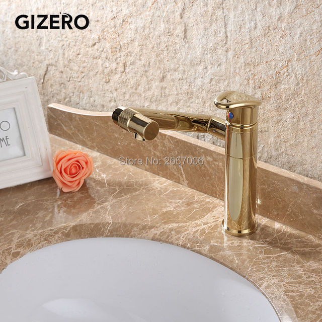 GIZERO Luxury 360 degree Rotatable Gold Bathroom Vanity Sink Faucet ...