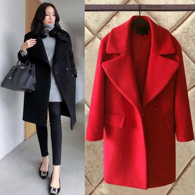 9c05ead50fdc 2017 New Fashion Women Woolen Coats Elegant Long Loose Women Winter Wool  Coat Jackets Korean Style Plus Size Jackets Outwear