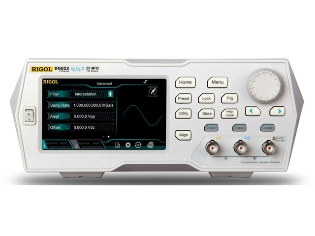 "Rigol DG822   25 MHz Function / Arbitrary Waveform Generator, 2 Channel 4.3"" TFT color touch screen"
