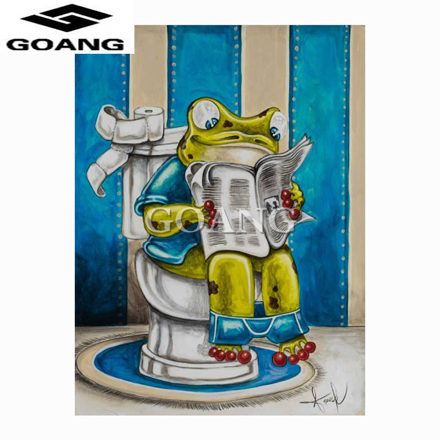 GOANG 3D Diamond Painting Cross Stitch frog reads the newspaper on the toilet Crystal Needlework Mosaic Diamond Embroidery