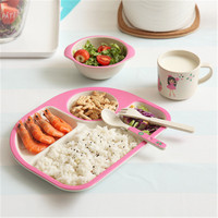 Children Tableware Bamboo Fiber 5 Piece Set Newborn Feeding Service Plate/Tray With Cup Spoon Plate Fork Baby Cartoon Grid Plate