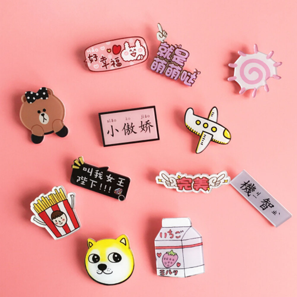 US $0 32 OFF 1pcs Lovely Cartoon Icons On Fruit The Pin Kawaii Icon Badge Icons On The Backpack Badges For Clothing Acrylic Badges