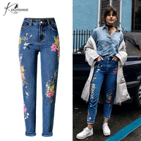 Ladies Loose Embroidered Mom Jeans Woman 2018 WinterFemale Boyfriend Jeans For Women Clothes Denim Pants With High Waist Jeans