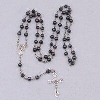 High Qulity Rosary Cross Pendant Necklace Black Religious Rosarie Black Hematite Beads Necklace For Men