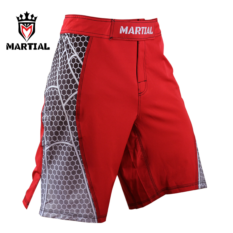 MMA White Japanese Style Print Ferocious Roar Battle Fitness Shorts Clothing