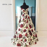 CRYSTAL JIANG 2018 Rose Floral Printed Sweetheart Natural Waist A Line Beautiful Garden Wedding Dresses Fast Delivery