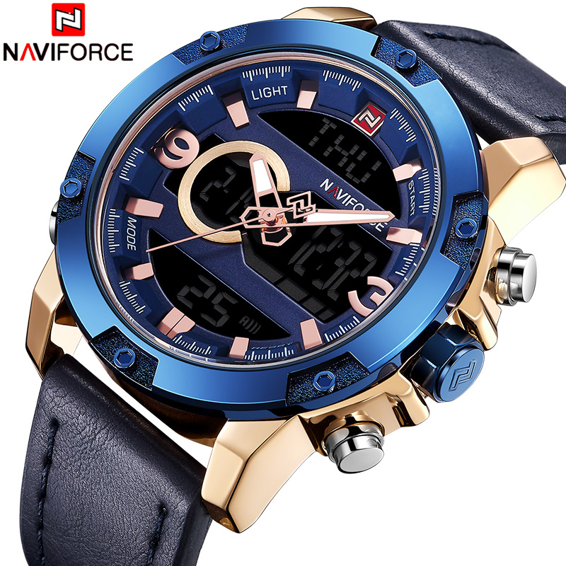 Top Luxury Brand NAVIFORCE New Men Quartz Watch Men's Military Leather Sport Wrist Watches Male LED Digital Analog Clock NF9097