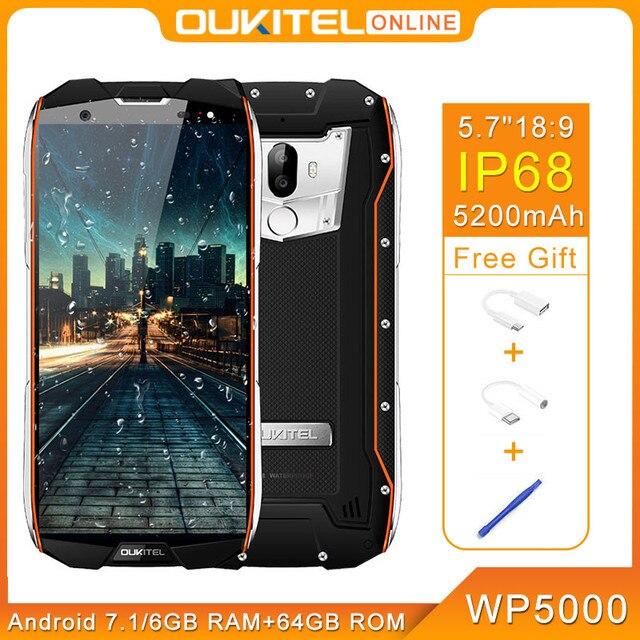 "Oukitel Wp5000 Ip68 Seal 6 Gb 64 Gb 5200 Mah 5.7 ""18: 9 Display Helio P25 Octa Core 4G Fingerprint 9V/2A Smartphone"