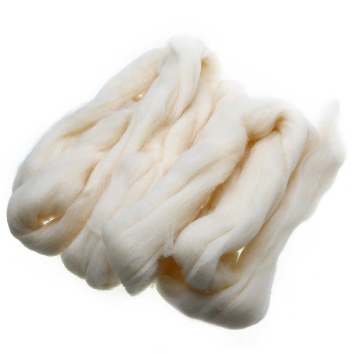 Felting Wool Fiber 100g Cream White Needle Felting Wool Tops Roving Spinning Weaving For DIY Hand Craft Doll Animal Gifts
