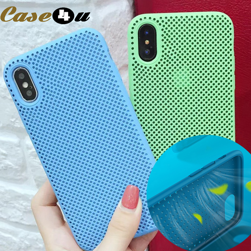 Fashion Heat Dissipation Hollow Liquid Silicone Case Cover for iPhone 6 6s 7 8 Plus X 10 XS Max XR Phone Cases Honeycomb Mesh iPhone XS