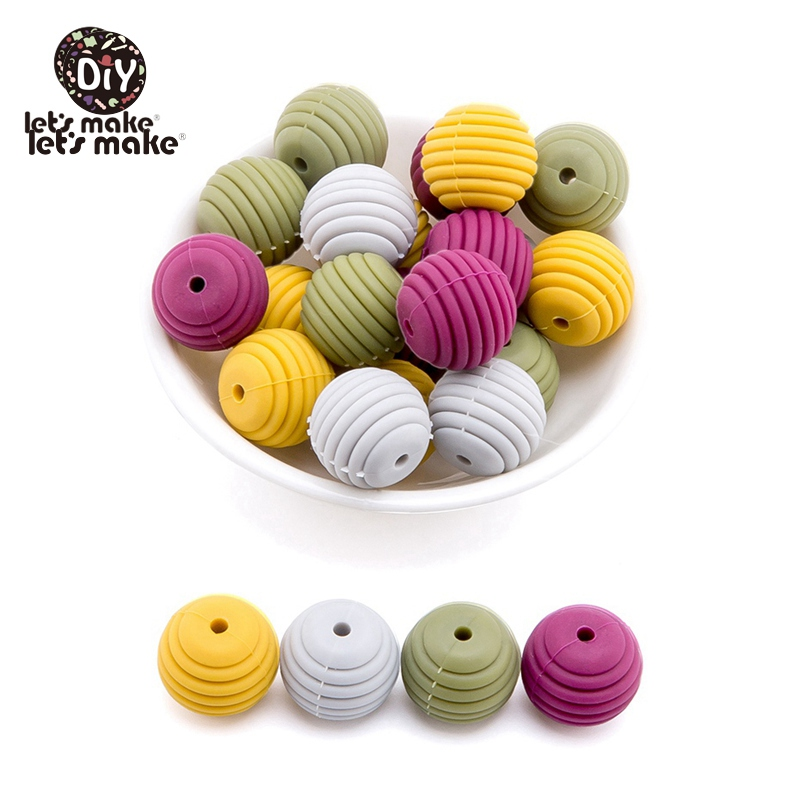 Let's Make Silicone Teethers 15mm  Spiral BPA Free 50PCS Threaded Beads DIY Pacifier Chain Accessories Silicone Beads For Baby