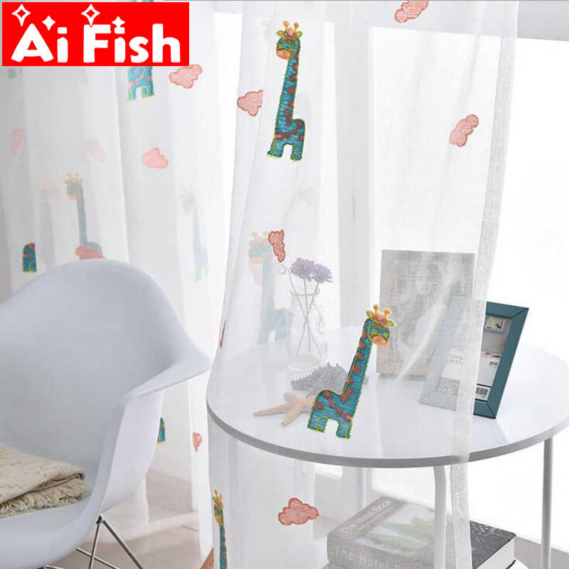 Modern Cute Cotton Children Bedroom Blue Giraffe Sheer Pink Embroidered Clouds Curtains For Living Room Tulle Panels AP154-3
