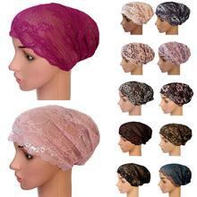 Muslim Women Flower Lace Hat Islamic Inner Caps Headwear Underscarf Lady Ramadan Soft Breathable Bandage Fashion