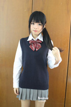 Cosplay K-ON Sleeveless sweater Vest uniforms V-neck Japanese High school uniform sweater cos