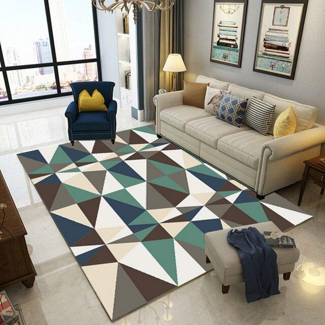 Mode Moderne Scandinave Géométrique Triangles Doux Flanelle Sol Pied Tapis  Salle De Bain Salon Salon Décor