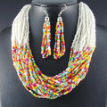 Beaded Handmade Maxi Vintage Fashion Neon Chain Chokers Statement Necklaces Chain Jewelry Green Pink Women Accessories