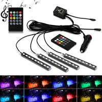 New Car Interior Atmosphere Neon Light LED Multi Color RGB Voice Sensor Sound Music Control Decor