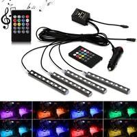 New Car Interior Atmosphere Neon Light LED Multi Color RGB Voice Sensor Sound Music Control Decor