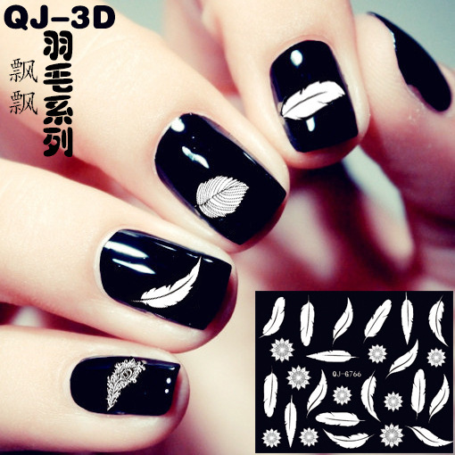 10pcslot Nail Foil Art Stickers False Nail Feather Design Manicure