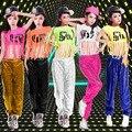 Хип-хоп танец топ & брюки джаз танцевальная одежда хип-хоп одежды блестками костюмы джазовый танец одежда набор