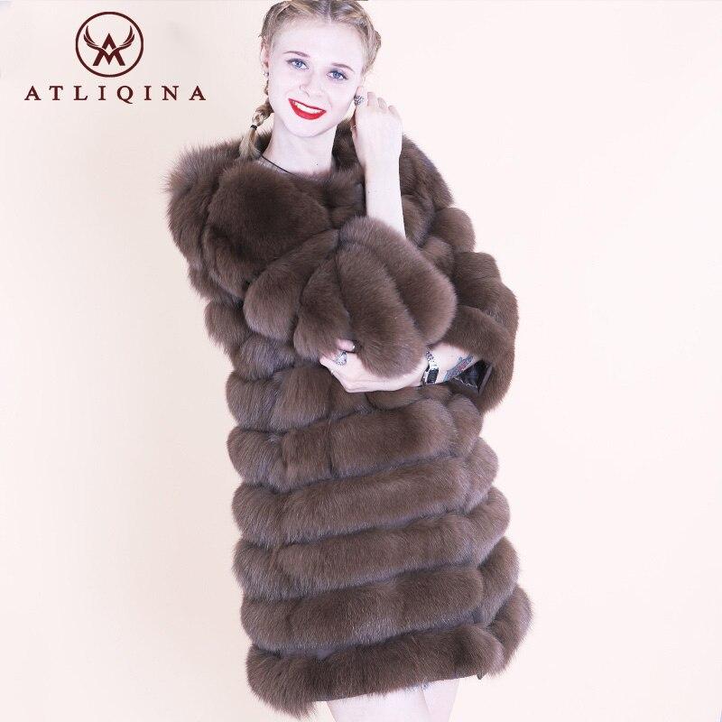 ATLIQINA Настоящее пальто с мехом женщины 100% Лисий Меховая куртка съемные рукава теплый жилет Длинная верхняя одежда короткие также 2018 новые мо