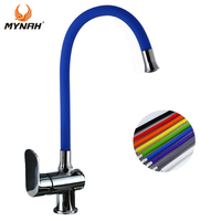 MYNAH Silica Gel Any Direction Faucet Hot And Cold Water Flexible Kitchen Tap Sink Multicolor Kitchen Faucets Black Modern M5847