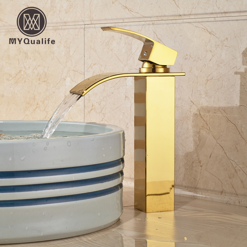 Golden Brass Waterfall Bathroom Sink Basin Mixer Faucet Single Handle Square Shape Water Taps okaros bathroom basin faucet brass golden polish swan shape heighten single handle hot&cold water vanity sink mixer tap 2016 new