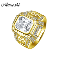 AINUOSHI Luxury 14K Solid Yellow Gold Men Ring Bezel Setting Vintage Pattern 4CT Rectangle Cut SONA Diamond Wedding Male Band