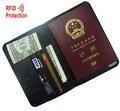 MRF6 RFID BLOQUEIO carteira de passaporte de couro + capa de passaporte de couro de grão superior Couro de vaca genuína + + RFID proteção mens carteira